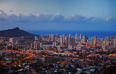 Blue Hawaii (southerncal88) Tags: city skyline hawaii cityscape skyscrapers pacific pacificocean citylights diamondhead honolulu lighttrails bluehour partlycloudy tantalus mounttantalus honoluluhawaii