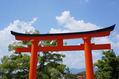 Inari (jbilnoski) Tags: trees red sky cloud tree nature japan clouds temple kyoto gate shrine asia inari gates pray entrance fortune explore fox shinto foxes risingsun kami fushimiinari fushimi eastasia heritige