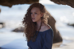 (akimuby) Tags: ocean blue girls light sunset red portrait people water beauty face hair women rocks outdoor curls sunny redhead curly freckles redhair rubyjames