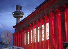 Truth & Justice: 96 (.annajane) Tags: uk light red england liverpool memorial dusk projection hillsborough merseyside stgeorgeshall stjohnsbeacon radiocitytower hillsboroughdisaster