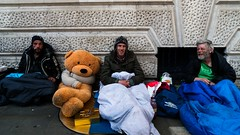 Three Men and a Bear (stevedexteruk) Tags: road bear street uk sleeping men london bag three cross teddy pavement homeless westend 2016 charring sleepingrough