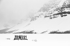 Exploring the BC (Hooti3) Tags: travel bridge blackandwhite bw mountain lake snow canada storm mountains calgary landscape frozen bc outdoor britishcolumbia explore bowlake