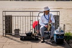Jazz Man (Marcy Leigh) Tags: portrait music water river outdoor neworleans trumpet jazz saxaphone mississippiriver nola sax jazzman