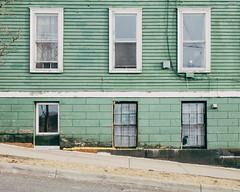 Waiting for Rod's brush (emrold) Tags: windows house green cat peeling paint hill slope saintjohn kodakektar100 vsco xf23mmf14r fujifilmxt1 vscofilm05 2016emrold|ericdelorme