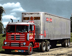 1956 Diamond T 921C COE Truck  Colorized (gdmey) Tags: colorized semitruck diamondt cabover