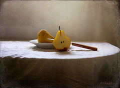 Still Life With Pears (MargoLuc) Tags: light stilllife white texture backlight table shadows pears dish knife pottery kaiser frutta pere skeletalmess