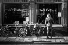 (Jeff Krol) Tags: street girls people urban blackandwhite bw holland reflection window netherlands monochrome dutch amsterdam fun mono mirror cafe noir break noiretblanc candid sony nederland streetphotography smoking bicycles blanc straat selfie 2016 straatfotografie cafeberkhout jeffkrol dscwx300 20151128dsc02220fl