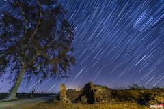 Lluvia de estrellas (Jorge Lzaro Fotografa) Tags: naturaleza arbol noche lluvia paisaje ruina noturna estrellas piedra starstax