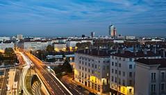 Lyon  Pont de Lattre de Tassigny et la Part-Dieu (f_c__) Tags: longexposure bridge twilight lyon pont lighttrails crayon incity partdieu poselongue heurebleue