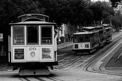 San Francisco Cable Cars on Hyde Street (Wing Tam Photography) Tags: sanfrancisco california travel tourism outdoors blackwhite citylife rail cablecars hydestreet traveldestinations