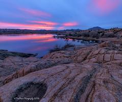 _DSC4400acprt (TreeRose Photography) Tags: pink trees sunset arizona sky water reflections evening rocks dusk patterns textures shore prescott rockformations dormant striations granitemountain willowlake granitedells