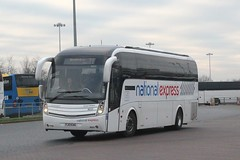 Travel de Coursey . Coventry . MD20 FJ13EAG . Stansted Airport , essex . Wednesday 20th-January-2016 . (AndrewHA's) Tags: travel bus volvo coach airport birmingham route coventry 777 essex stansted caetano nationalexpress levante decoursey b9r md20 fj13eag