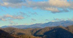 The woods are lovely... (bankst) Tags: trees winter mountains nature clouds woods nikon shadows scenic northcarolina bluesky robertfrost blueridgemountains rainclouds valleys milestogo scenicview applachianmountains d5100