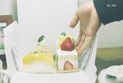 * (k) Tags: film cakes strawberry om1 fujipro400h
