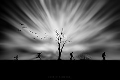 the time (mirco tamenghi) Tags: life old people bw cloud tree bird canon graphics time conceptual tempo youngman biancoenero grafica concettuale oldmane