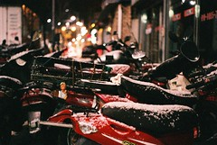 Snow on bikes (Married with Maps) Tags: snow bikes songtan