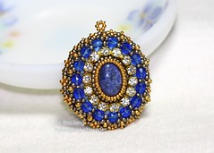 Mithra Pendant in Lapis & Pewter (BeeJang - Piratchada) Tags: blue gold golden handmade embroidery jewelry miyuki pewter beading beaded pendant lapis sapphire beadwork beadweaving duracoat czechfirepolished cupchain