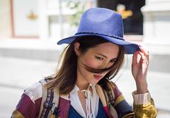 Blue hat_ (cohenvandervelde) Tags: street portrait color colour canon 50mm streetphotography melbourne depthoffield candidportrait 365project2016
