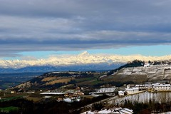 Sunday morning (elfrica) Tags: morning italy sun snow mountains clouds alpes countryside sunny hills alpi langhe monviso