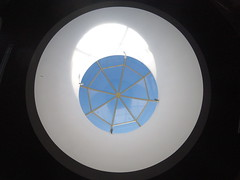 The Blue Umbrella (lunat1k) Tags: blue light shadow sky sun architecture umbrella circle subway sofia interior skylight wideangle minimal lookingup bulgaria pixar cupola dome round animation minimalism gopro hero4 goprooftheday hero4session