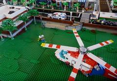 AW139 AV Air Ambulance (LonnieCadet) Tags: road street rescue tree car ferry fire town cafe lego helicopter modular emergency moc 2016 brickvention lonniecadet bv16