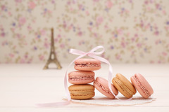 Macarons, Eiffel Tower on wood (prolisafoto) Tags: life pink wedding paris floral vintage festive french dessert still bokeh background postcard eiffeltower creative marriage retro souvenir card present romantic vanilla ribbon unusual concept elegant celebrate greeting luxury stylish macaron copyspase