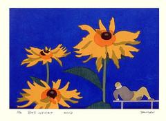Coneflower (Japanese Flower and Bird Art) Tags: flower art japan modern print japanese coneflower rudbeckia asteraceae woodblock watanabe yoichi laciniata readercollection