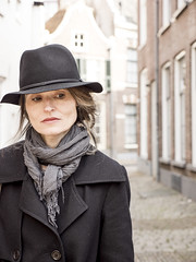 Marille, Zwolle 2016: New streets of thought (mdiepraam) Tags: portrait woman holland netherlands hat lady scarf pretty slim gorgeous coat mature attractive tall brunette milf zwolle marielle 2016 fiftysomething