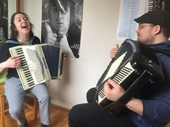 First Accordion Lesson (buhrayin) Tags: music philadelphia store accordion lesson interview bellows learn groupon whenthesaints