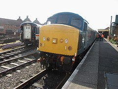 45133 arrives at Dereham, MNR Mid-Norfolk Railway Diesel Gala 01.04.16 (Trevor Bruford) Tags: blue heritage br diesel centre 4 peak railway class 451 type locomotive 40 society gala midland preservation mrc sulzer mnr dereham butterley d40 midnorfolk 45133