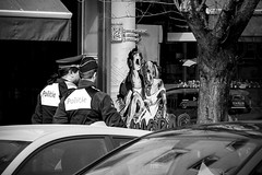 Inge Hoogendoorn (ingehoogendoorn) Tags: blackandwhite zwartwit cartoon streetphotography police strip blacknwhite forcedperspective antwerpen politie agenten straatfotografie stripwinkel politieagenten