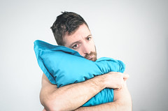 (Damien Cox) Tags: uk blue portrait selfportrait man male me face self ego myself beard eyes nikon alone masculine teal ears moi pillow autorretrato scruff stubble i damiencox damiencoxcouk