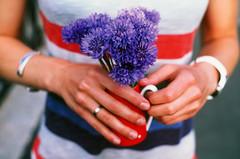 Cornflowers  (Iurii & Natali) Tags: blue red summer color film vintage ceramic hands fuji stripes cartier slide velvia chrome m42 analogue praktica cornflowers kjp fingures