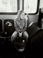 The cleaning girl on her way to work (qphat) Tags: morning travel portrait blackandwhite woman bus girl lady hoodie publictransportation kentucky young cleaning jeans transit commute busride lowes iphone iphone6
