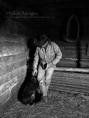 Waiting out the Rain (wild out west) Tags: blackandwhite dog barn cowboy manly cowboyhat heeler ranching cowboyboots workingdogs barnwood