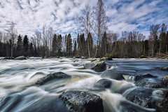 Kuusaankoski rapids (L.Matero) Tags: blue trees sky water clouds canon suomi finland rocks long exposure running rapids rapid f4 6d laukaa 1635mm kuusaankoski