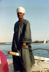 1992 - Upper Egypt - A Dhow Captain at Aswan (bellrockman2011) Tags: egypt nile temples pyramids aswan trajan antiquities pharaohs cataracts begum agakhan