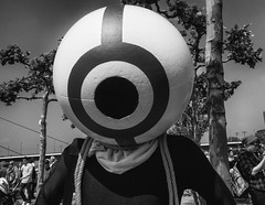 Globe (Georgie Pauwels) Tags: street blackandwhite monochrome ball fun globe funny candid streetphotography olympus comical droll