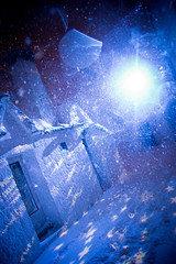 Christmas in the Village (Vittorio.DellErba) Tags: blue homes winter light italy white snow storm cold color night stars lights nikon italia outdoor trulli puglia alberobello