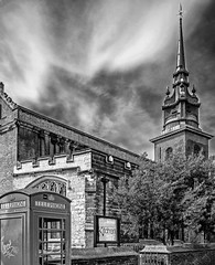 All Hallows by The Tower Church at Tower Hill (BW) (Fujfilm  X70 Compact) (markdbaynham) Tags: city uk urban bw building london tower church blackwhite all fuji 28mm hill capital historic gb fujifilm fixed metropolis fujinon f28 compact x70 hallows londoner londonist apsc 16mp transx fujiuk