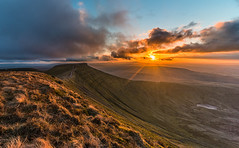 Pen-Y-Fan Sunset (karlmccarthy1969) Tags: uk sunset sun mountain green beautiful grass wales clouds photography nikon awesome wideangle breconbeacons brecon
