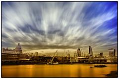 London Postcard (NILOFIDO) Tags: longexposure bridge light sunset red urban orange detail reflection london art water glass colors thames skyline river landscape gold nikon df shadows grunge stpaul hdr nilofidoc
