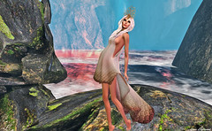 SWANK April Round: Spring Celebration! (Hannah Luna Naimarc: Miss V Chile 2016) Tags: ocean blue white lake greek gold spring dress princess goddess queen event fantasy april gown mermaid swank rp headdress headpiece clarahill donatelacouturier moderncouture hannahluna