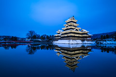 Matsumoto Castle | Nagano (dawvon) Tags: longexposure travel winter sunset nature water japan architecture night reflections dark season japanese twilight asia nightshot dusk keep bluehour moat matsumoto nagano magichour goldenhour historicalbuilding naganoprefecture honshu halflight  naganoken  matsumotocastle crowcastle     matsumotoj  chbu matsumotoshi karasujo hirajiro flatlandcastle chburegion