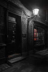 PhoneBox (Da_vina) Tags: door london night alley nighttime phonebox gaslight balxkandwhite