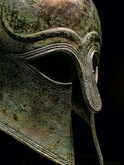 Ancient Greece. Detail of Corinthian helmet, 510 B.C. (mike catalonian) Tags: bronze helmet ancientgreece