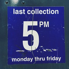 last collection 5 PM monday thru friday (Simon Birky Hartmann) Tags: urban mailbox sticker grunge cleveland gritty worn torn usps cle vsco vscocam thisiscle simoncommutes simoncommutesapril2016
