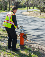 testing hydrants 02 - Cleveland Heights Fire Department (Tim Evanson) Tags: hydrant firetruck firedepartment laddertruck clevelandheightsohio clevelandheightsfiredepartment