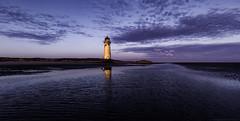 Point of Ayr (MarkWaidson) Tags: sea sky moon lighthouse beach clouds sunrise sand pointofayr talacre2016
