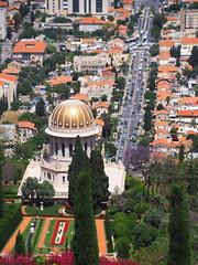 Shrine of the Bb (Ilia K.) Tags: road park city trees building green architecture garden temple israel shrine god faith religion holy cupola bahai haifa selectivefocus tiltshift